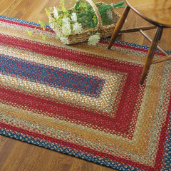 Homespice Rugs-Cotton Braided Rug-Log Cabin Step-Red