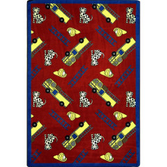 Joy Carpet - Hook And Ladder Playful Patterns - Children'S Area Rugs Red