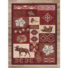 American Dakota Rugs National Park 0177RED Red