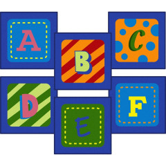 Joy Carpet - Alphabet Leaves Sitting Squares Kid Essentials - Early Childhood Multi
