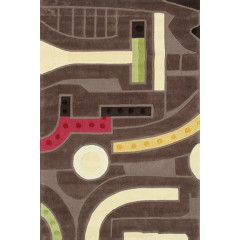 The Rug Market Counterpoint 72349D Brn Crm Red Grn