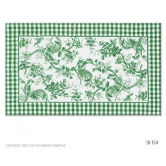 The Rug Market Rooster Toile 16154D Grn Wht