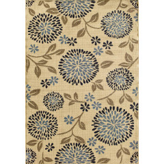 Central Oriental - Tributary Chrysanthemum Ivory-Navy