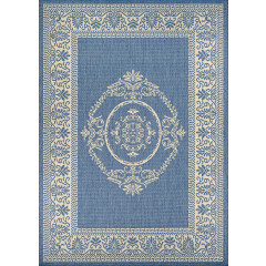 Couristan Rugs RECIFE ANTIQUE MEDALLION 10781212 CHAMPAGNE/BLUE