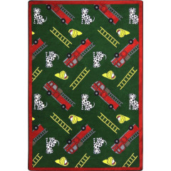 Joy Carpet - Hook And Ladder Playful Patterns - Children'S Area Rugs Green