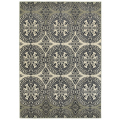 Oriental Weavers Rugs LINDEN L7818A Navy/ Ivory