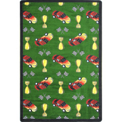 Joy Carpet - Start Your Engines Playful Patterns - Children'S Area Rugs Green