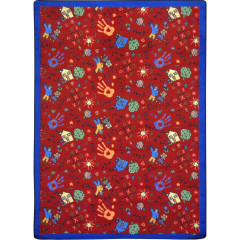 Joy Carpet - Scribbles Playful Patterns - Children'S Area Rugs Red